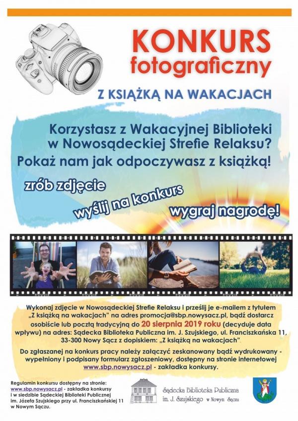 """Konkurs fotograficzny """"Z książka na wakacjach"""" Sądeckiej Biblioteki Publicznej"""