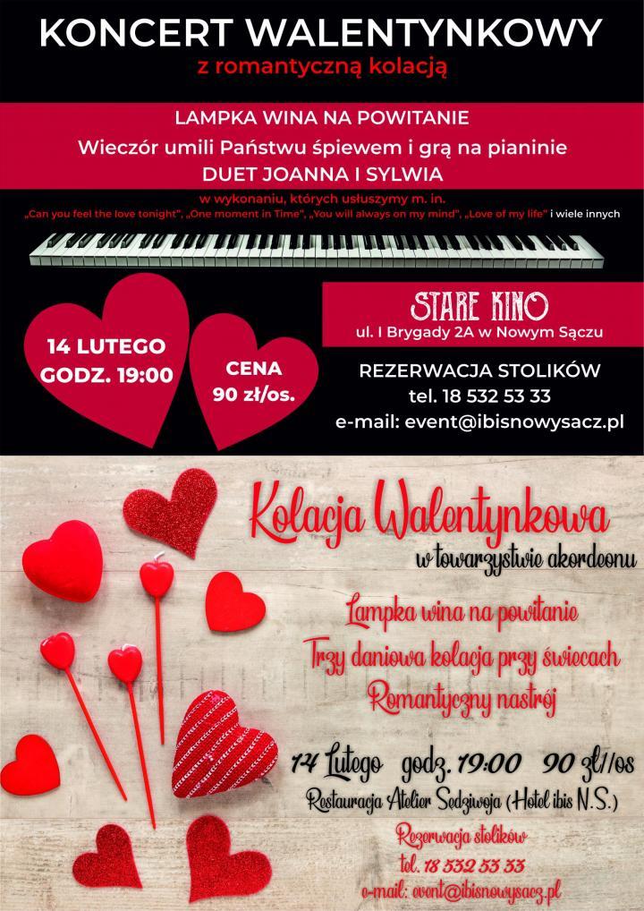 Koncert Walentynkowy z romantyczną kolacja w Nowym Sączu