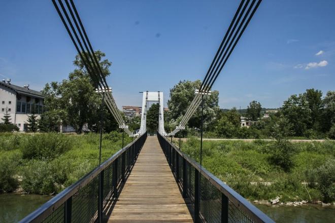 Wiszący most nad Kamienicą w Nowym Sączu