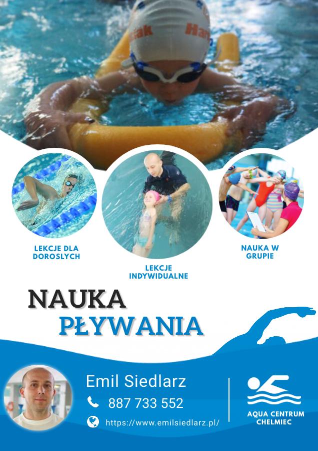 Nauka pływania w Chełmcu.